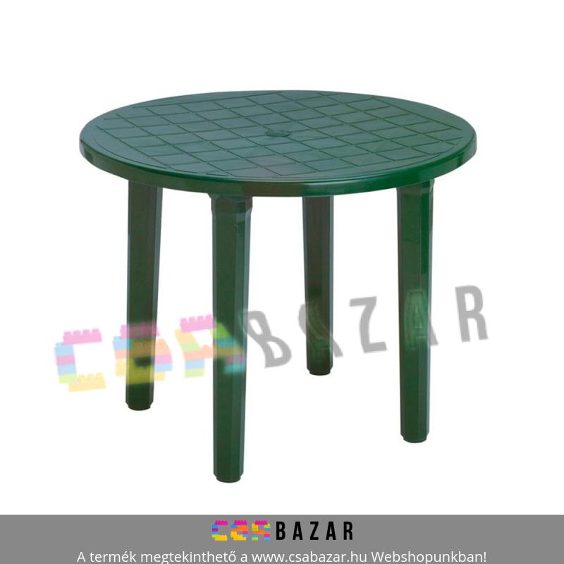 Műanyag kerti kerek asztal zöld Csabazár webáruház