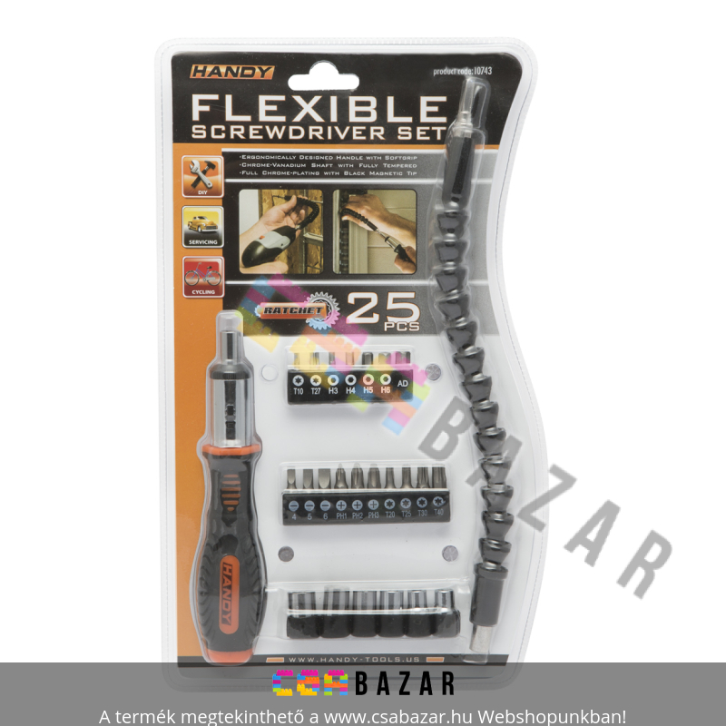25 db-os Racsnis csavarhúzókészlet flexibilis bitszárral - Csabazár  webáruház 53ad260622